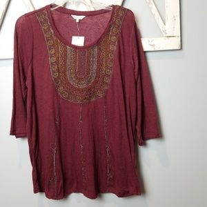LUCKY brand embroidered bib top 1X new